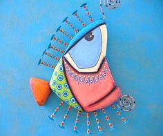 Fish Wall Art Fred Flounder Original Found Object Wall