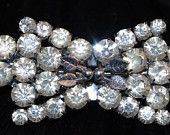 Antique - Art Deco Czech Crystal Diamante  Bow Brooch  and Collar Clips Duette - 1920s