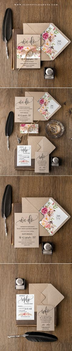 We Do <3 Boho Wedding Invitations - Eco Papers, Floral Printing & Calligraphy writing #boho #weddingideas #watercolor