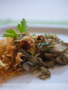 Receta de alcachofas salteadas con patatas paja | Cantabria | Spain