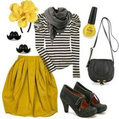 Fall work outfit (minus the accessories): bright skirt, stripped long-sleeve top, grey scarf, black booties