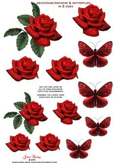 Deep Red Roses Butterflies Decoupage Sheet on Craftsuprint designed by June Young - A Sheet with deep red roses with sparkle finish, and toning butterflies in two sizes. Can be used for your card making, scrapbooking or any other craft you wish to use them for. You can use one layer or all of them - whatever suits your requirements. A really useful addition to your Embellishment stock. - Now available for download!