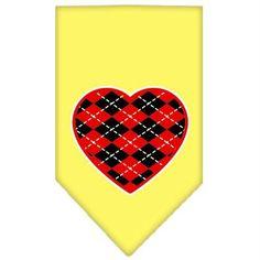 Argyle Heart Red Screen Print Bandana Yellow Large