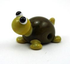 Green Turtle Lampworked Glass Figurine Bead by MercuryGlass, $10.00