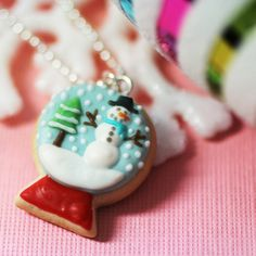 Christmas Snow Globe Cookie Polymer Clay Necklace