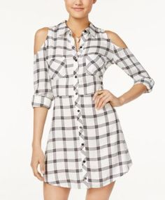 Material Girl Juniors' Plaid Cold-Shoulder Shirtdress, Only at Macy's