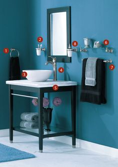 Le Brushed Nickel Bathroom Description Beautiful Bath In Blue And Black With