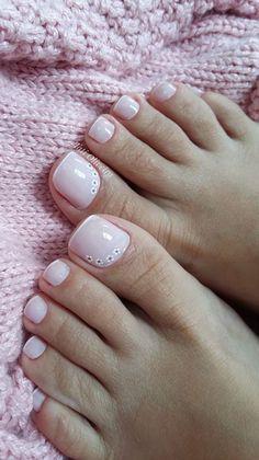 39 Modelos de Unhas Francesinhas com Flores Pretty Toe Nails, Cute Toe Nails, Pretty Toes, Fancy Nails, Trendy Nails, Pink Nails, My Nails, Hair And Nails, French Pedicure