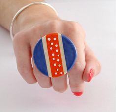 Ceramica regolabile anello oversize grassetto a mano