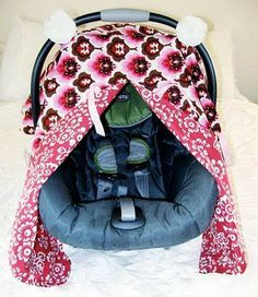 """closet crafter: car seat canopy with peek-a-boo tutorial ~What you need:  *1 1/8 yd. lightweight fabric   *1 1/8 yd. coordinating lightweight fabric  *a little extra fabric or ribbon for handle straps  *60"""" of coordinating ribbon for peek-a-boo closures  *velcro    *All seams are 1/4"""" unless otherwise specified."""