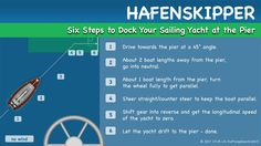 Hafenskipper - To dock at the pier with no wind and current present, you just drive towards the pier at a 45° angle, then shortly before you reach the pier, turn parallel to the pier and use the inertia to drift the last meter to the pier. Here are the six steps to Dock Your Sailing Yacht at the Pier in detail.