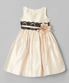 Look what I found on #zulily! Champagne Satin Lace Dress - Toddler & Girls #zulilyfinds
