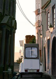 #XoanBaltar #car #city #draw #digitalpaint #white