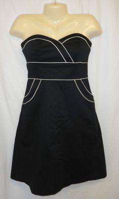 Donna Ricco 2 Black Dress Sweetheart A line White Piping Strapless Tea A line #DonnaRicco #TeaDress #LittleBlackDress