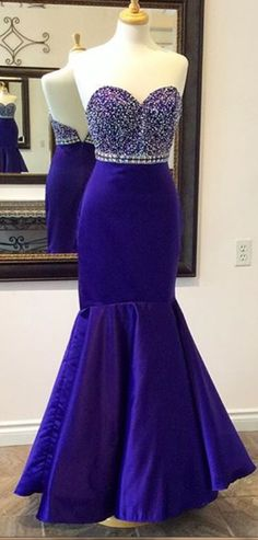 Mermaid Prom Gown,Royal Blue Prom D