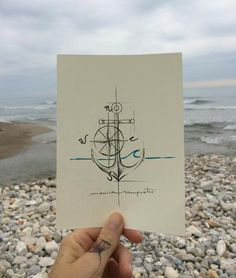 Art Tattoo Original Sheet in ink Ancla by CreatedInBCN on Etsy