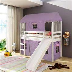 Cama Infantil com escorregador Tenda Castelo e Telhado Completo – Casatema