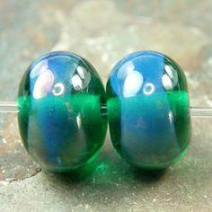 Handmade Lampwork Beads Shiny Transparent Teal Glass Beads Gaia Band | Covergirlbeads - Jewelry on ArtFire