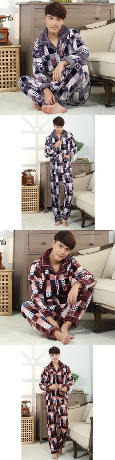 New Fashion Men's Pajamas Set Warm Flannel Sleepwear Plaid Stripped Men's Sleep Lounge Pajama Sets Homewear Nighties