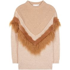 Stella McCartney Knitted Wool and Faux Fur Sweater (1 750 AUD) ❤ liked on Polyvore featuring tops, sweaters, beige, stella mccartney, beige sweater, faux fur top, wool knit sweater and stella mccartney top