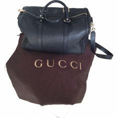 Leather boston bag GUCCI Black