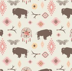 Navajo Bison and Dreamcatcher Fabric  Harmony By by Spoonflower