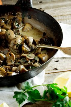 """The Ultimate Creamy Mushrooms with Garlic, Lemon, and Parsley. Pinner said: """"I used Silk instead of cream and poached the egg instead of frying, this is already a staple!"""""""