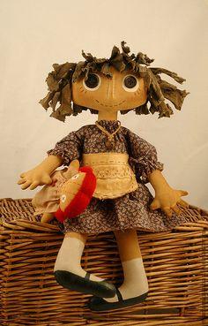 - handmade textile Attic primitive doll.