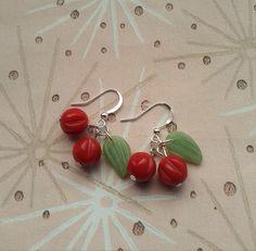 Cherry Earrings,Rockabilly Earrings,Lucite Earrings,Novelty Jewelry,40's 50's Style Earrings,Berry Earrings,1950's Fruit Jewelry,Mid Century by RosieMays on Etsy