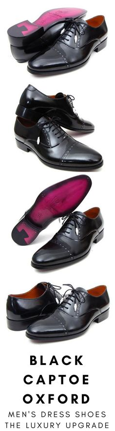 Mens dress shoe in black captoe Oxford by Paul Parkman. Luxury mens handmade dress shoes, formal shoes, business shoes for any occasion. These shoes come in multiple sizes. They are hand-painted with care by expert shoemakers. #mensdressshoes #dressshoes #shoes #mensfashion #socks #laces #handmade #bestshoes #luxuryshoes #businessshoes #formalshoes