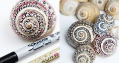 Crafting with snail shells – 6 imaginative ideas for mini decoration - Shell Crafts Rock Crafts, Diy And Crafts, Snail Craft, Seashell Painting, Snail Shell, Painted Shells, Plastic Spoons, Seashell Crafts, Shell Art
