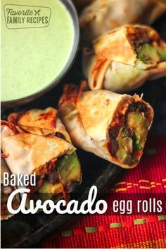 Avocado Egg Rolls are a perfect baked appetizer that are full of ripe avocado, black beans and spices that satisfy snack cravings but are really healthy for you! Avocado Egg Bake, Avocado Egg Rolls, Ripe Avocado, Dog Recipes, Mexican Food Recipes, Vegetarian Recipes, Healthy Recipes, Family Recipes, Delicious Recipes