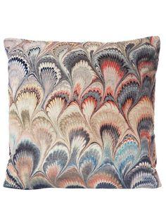 Beata Heuman Marbleized Velvet Cushion