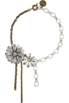 Lanvin Gold and silver-tone crystal necklace ~ I can't tell if I like this or not. I want it though