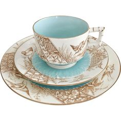EJD Bodley teacup trio, Aesthetic Movement birds transfer pattern, 1876-1881 -- found at www.rubylane.com #VintageBeginsHere