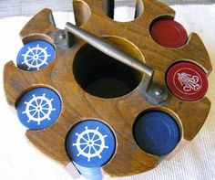 Vintage Poker Chips with Wooden Caddy by RusticSpoonful on Etsy