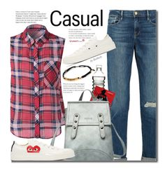 """""""School Style (sleeveless plaid shirt)"""" by beebeely-look ❤ liked on Polyvore featuring Frame Denim, Dot & Bo, Play Comme des Garçons, casual, plaid, jeans, sneakers and sammydress"""