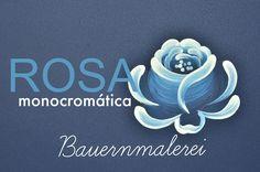 Rosa monocromática em Bauernmalerei