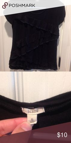 J. Crew black ruffled tee Asymmetrical ruffles (only on front). Edges of some ruffles have material with some sheen. Perfect condition. Very soft material. Items $10 or less are non-negotiable. Other items pictured also for sale. J. Crew Tops Tees - Short Sleeve