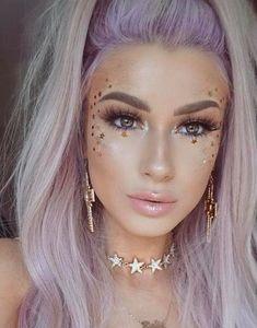 Purple hair and glam makeup Popular Ladies Glam Makeup, Rave Makeup, Beauty Makeup, Glitter Face Makeup, Makeup Tips, Pastel Makeup, Fun Makeup, Purple Makeup, Pastel Hair