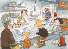 La Quaresma. La bacalleneria. El mercat.  Il·lustració de Subi.