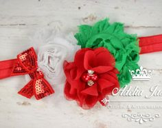 Christmas Baby Headband, Baby Christmas Headband, Red Green Holiday Baby Headband, Little Girl Christmas Headband, Toddler Holiday Headband