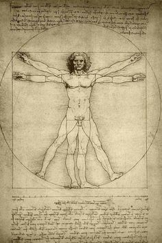 """Leonardo Da Vinci """" Vitruvian Man"""". In his treatise, Vitruvius discussed proper symmetry and proportion as related to the building of temples. The architect believed that the proportions and measurements of the human body, which was divinely created, were perfect and correct. He therefore proposed that a properly constructed temple should reflect and relate to the parts of the human body. He noted that a human body can be symmetrically inscribed within both a circle and a square; this idea…"""