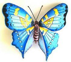 Butterflies Metal Butterfly Wall Art, Butterfly Wall Decor, Butterfly Decorations, Butterfly Painting, Butterfly Design, Blue Butterfly, Butterfly Artwork, Design Tropical, Tropical Wall Decor