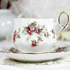 Vintage Floral Teacup and Saucer, High Handled, Footed Rosina Tea Cup