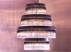 recycled ballpoint pen chandelier