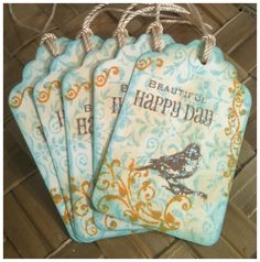 All Occasion Handmade Gift Tags Inked Stamped Victorian Sparrow Bird Beautiful Happy Day Scroll Robins Egg Blue Honey Deep Brown Set of Five. $4.75, via Etsy.