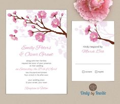 THIS IS IT!!!!! Pink Cherry Blossom Wedding Invitation and RSV Set by OnlybyInvite, $1.10