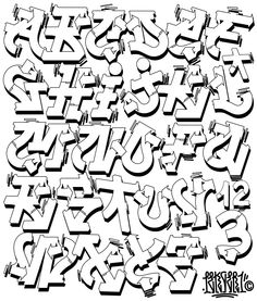 Grafitti Alphabet, Graffiti Lettering Alphabet, Graffiti Writing, Tattoo Lettering Fonts, Graffiti Font, Graffiti Murals, Doodle Lettering, Graffiti Styles, Lettering Design