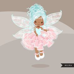 Pink Fairy clipart. Cute fairy character graphics angel